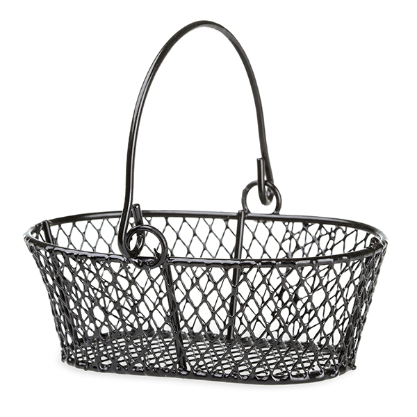 Stella Oblong MIni Wire Diamond Swing Handle Basket 4in