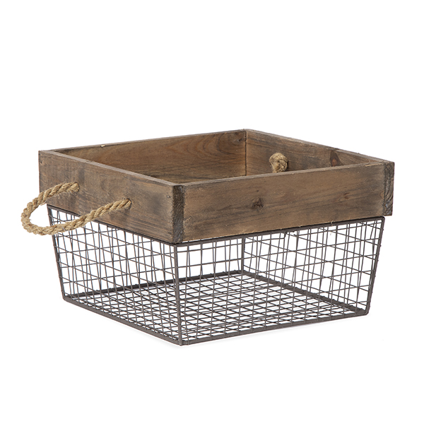 Square Wood and Wire Basket with Rope Handles - Large 10in