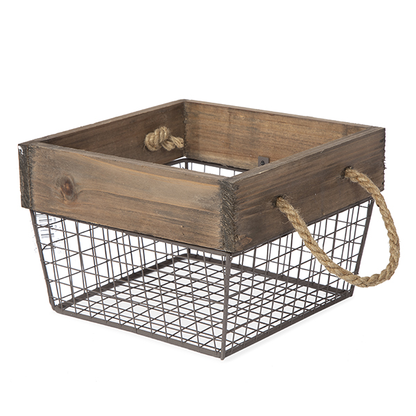 Square Wood and Wire Basket with Rope Handles - Small 7in