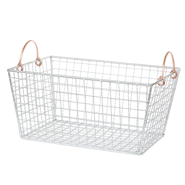 Stella Rect Wire Basket with Rose Ear Handles Large - 13in