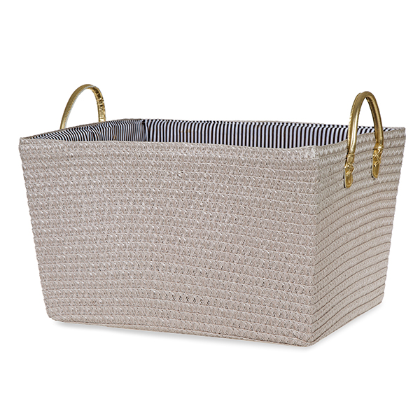 Rect Synthetic Weave Fabric Basket with Ear Handles - Gold 16in