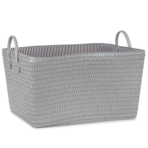 Rec Synthetic Weave Fabric Basket with Ear Handles - Silver 16in