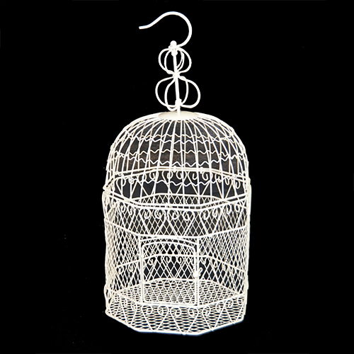 Voliere Octagon Wire Birdcage - White 8in Diameter