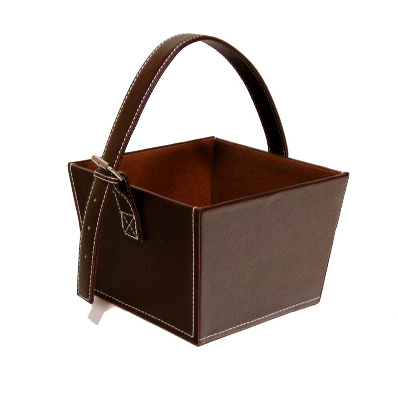 Roosevelt Faux Leather Basket with Buckle - Small Brown 7in