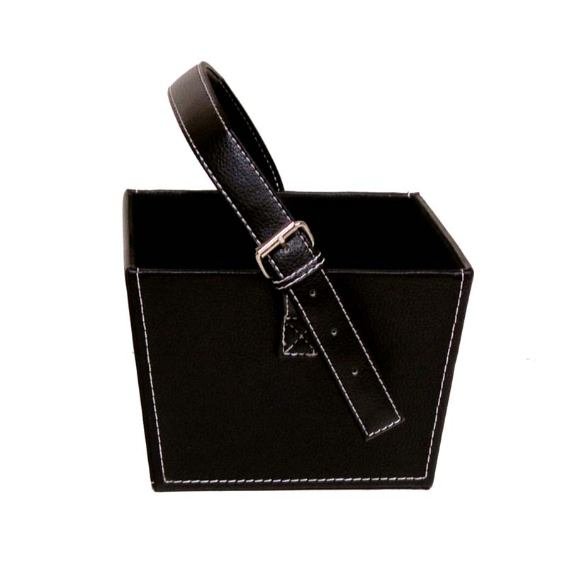 Roosevelt Faux Leather Basket with Buckle - Small Black 7in
