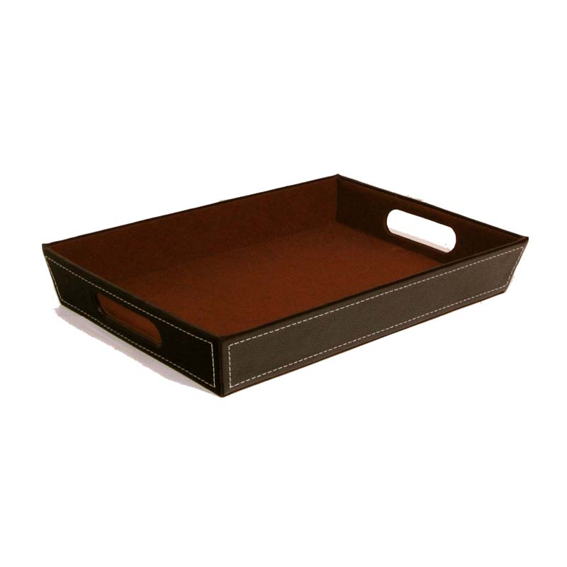 Roosevelt Faux Leather Valet Tray 13in
