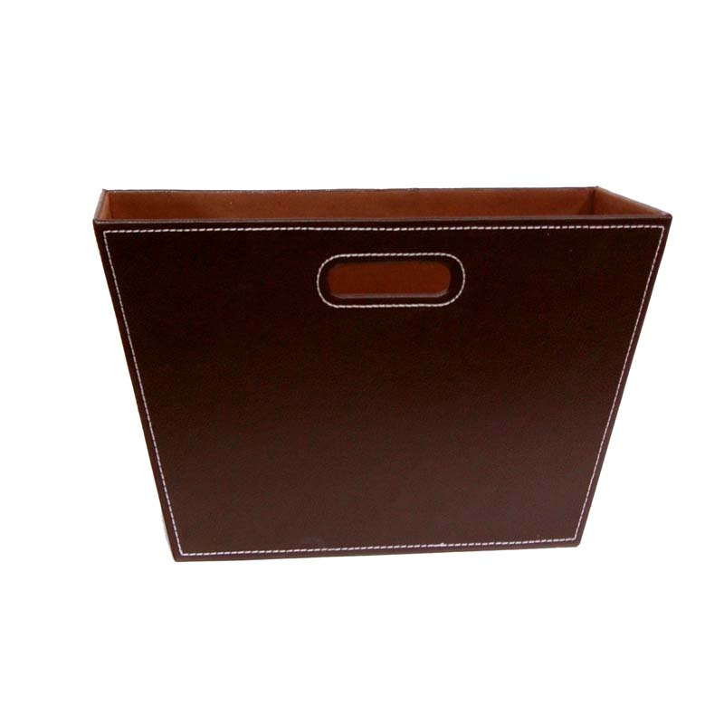 Roosevelt Faux Leather Magazine Holder 15in