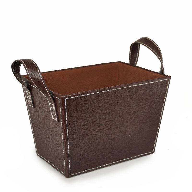 Roosevelt Faux Leather Basket with Handles - Small 8in
