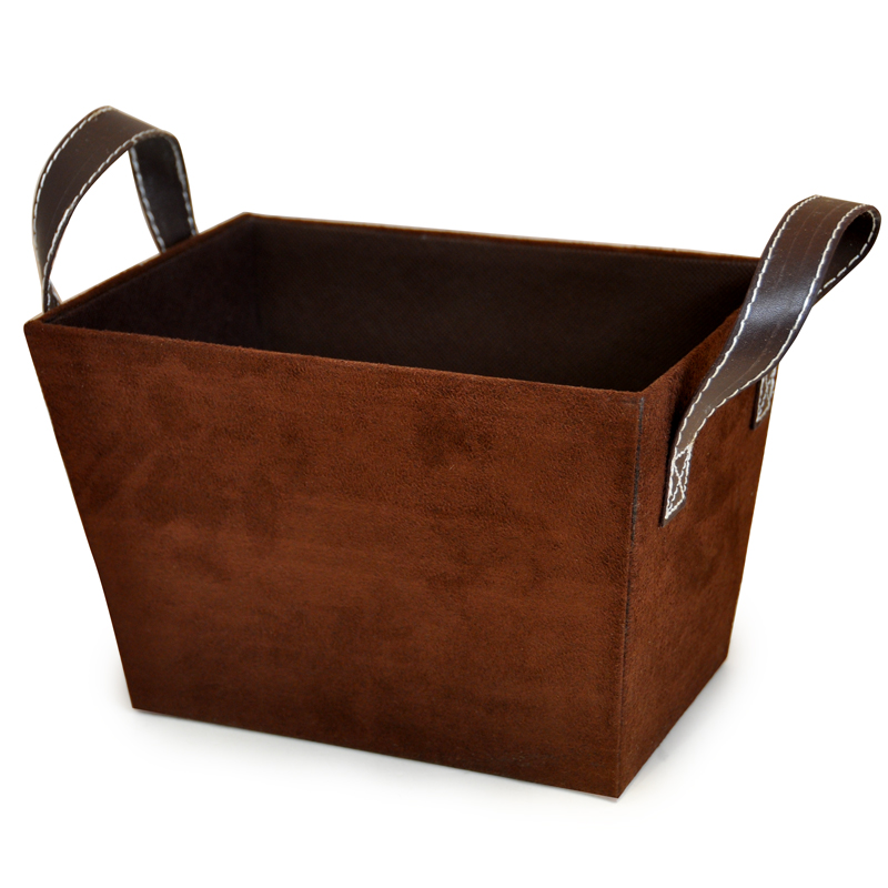 Roosevelt Faux Suede Basket with Handles - Small 8in