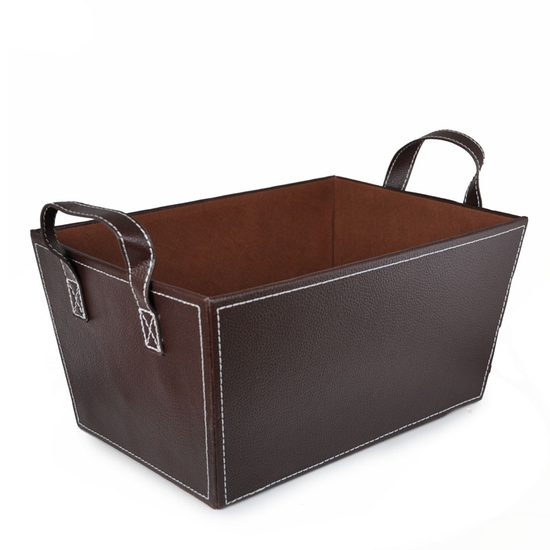 Roosevelt Faux Leather Basket with Handles - Medium 12in