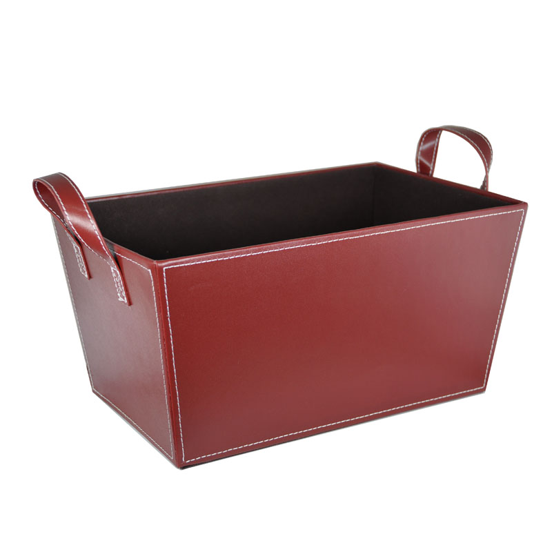 Roosevelt Faux Leather Bin with Handles - Large 14in