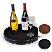 Roosevelt Round Faux Leather Serving Tray