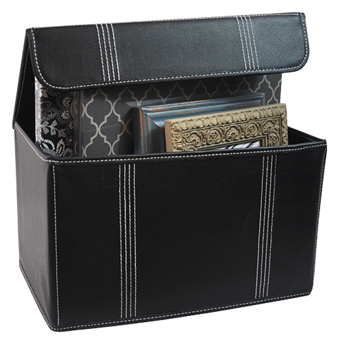 Roosevelt Faux Leather Storage Box with Lid Collapsible - 15in