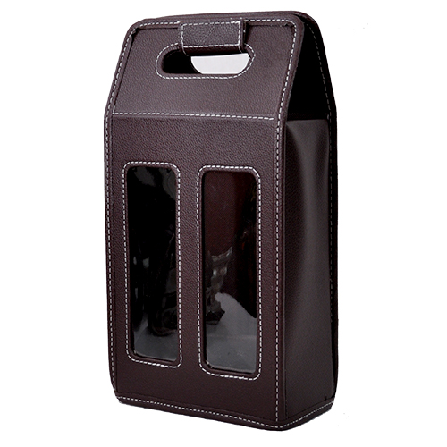 Roosevelt Faux Leather Wine Caddy 7in