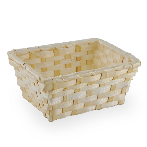 Natural Rectangular Bamboo Tray Basket  - Small 5in