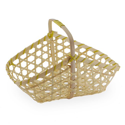 Natural Rectangular Handle Basket with Round Corners 10in