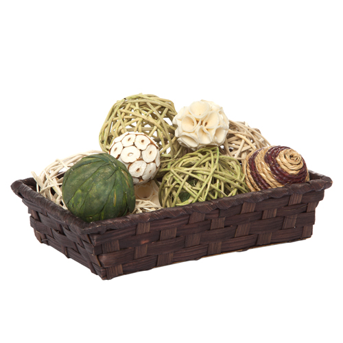 Dark Brown Rectangular Bamboo Basket 8in