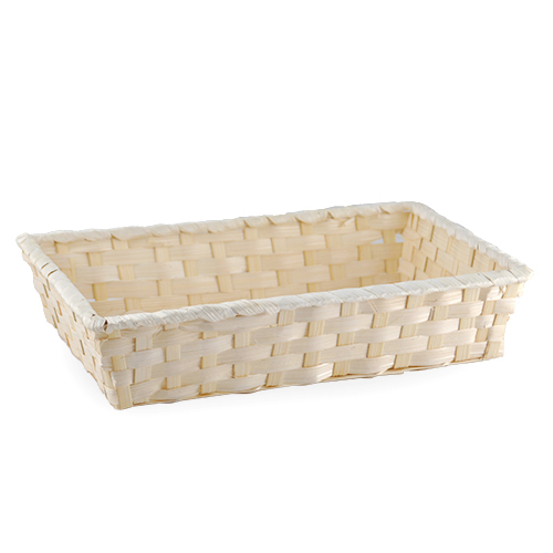 Natural Rectangular Bamboo Tray Basket - Medium 11in
