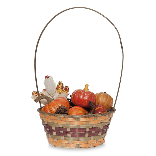 Round Bamboo Fall Handle Basket 8in