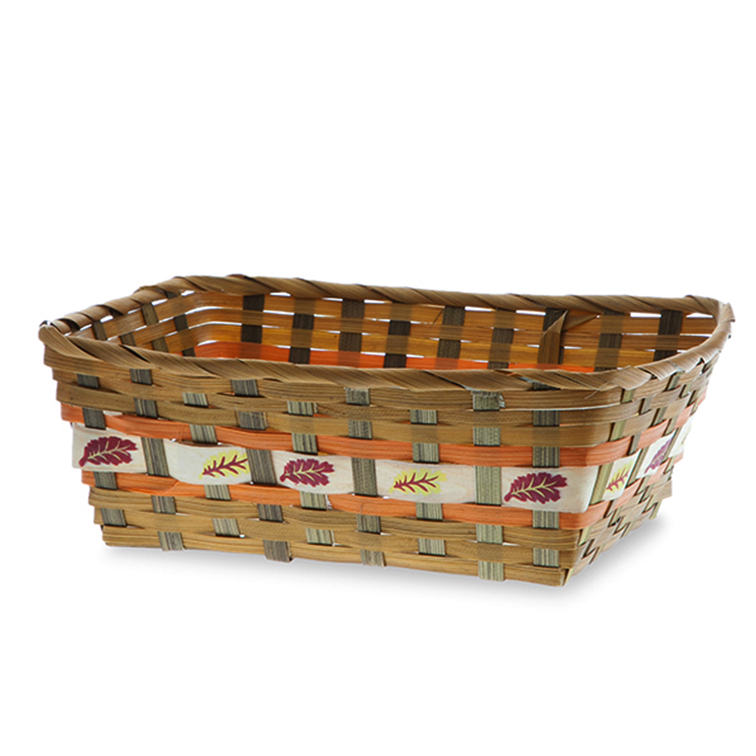 Rect Bamboo Fall Leaf Design Tray Basket 11in