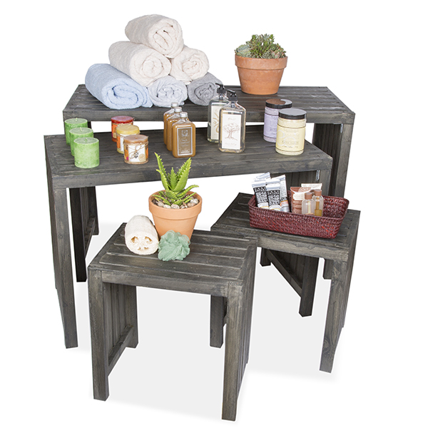 Four Piece Wooden Nesting Table