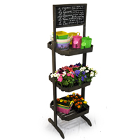 Wooden Three Shelf Retail Display With Chalkboard