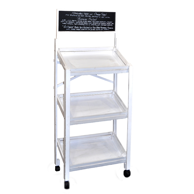 Wooden Three Shelf Display Chalkboard and Wheels - Worn White