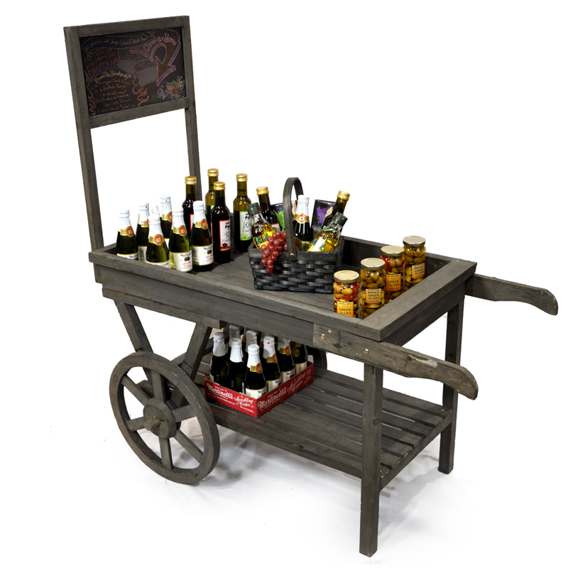 Wooden Store Display Cart with Chalkboard