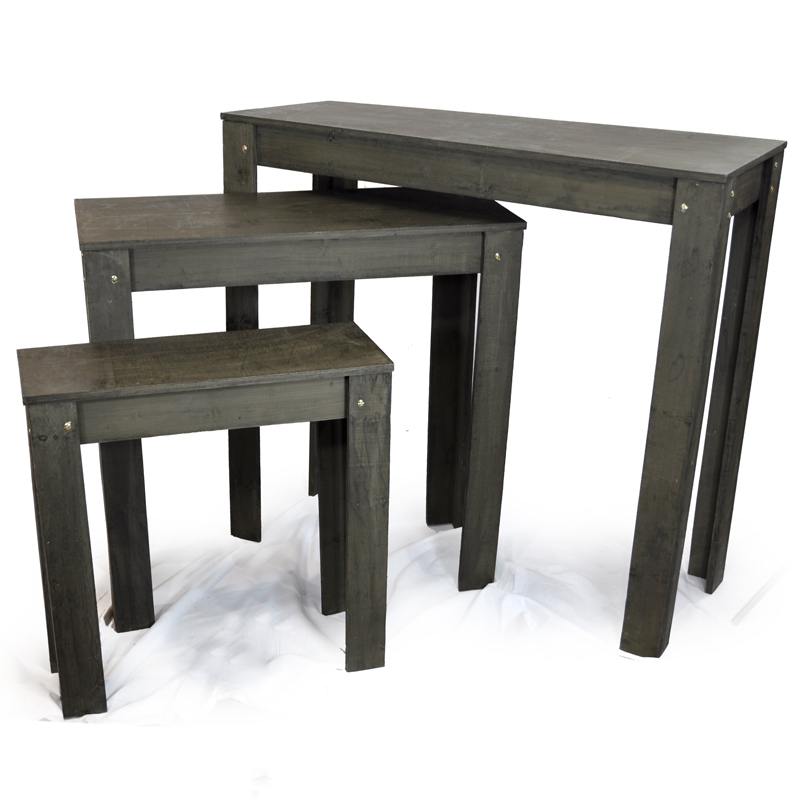 Classic nesting retail display tables set of three the for Html display table
