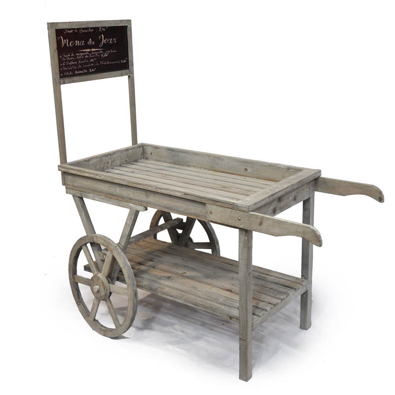 Wooden Retail Display Cart With Chalkboard Large The