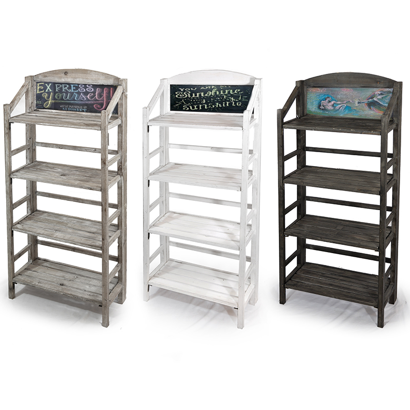 Three Shelf Retail Display With Chalkboard The Lucky