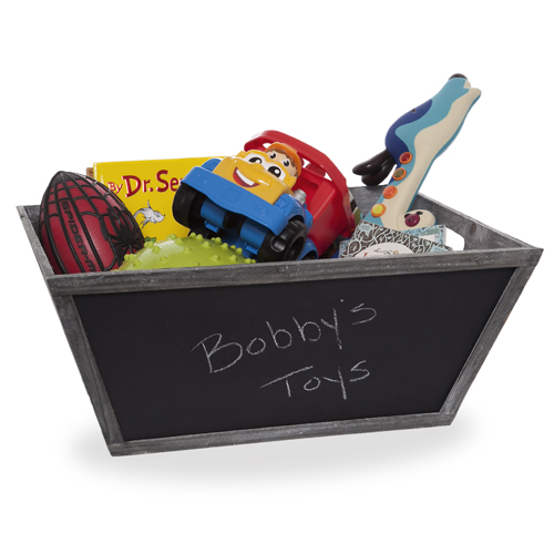 Wooden Rectangular Utility with Chalkboard - Large 20in