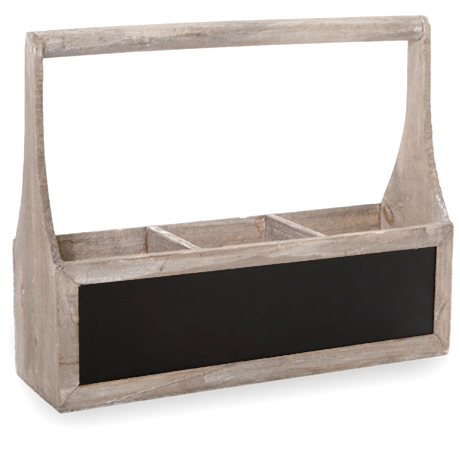 Wooden Rect Three Compartment Planter with Handle 17in