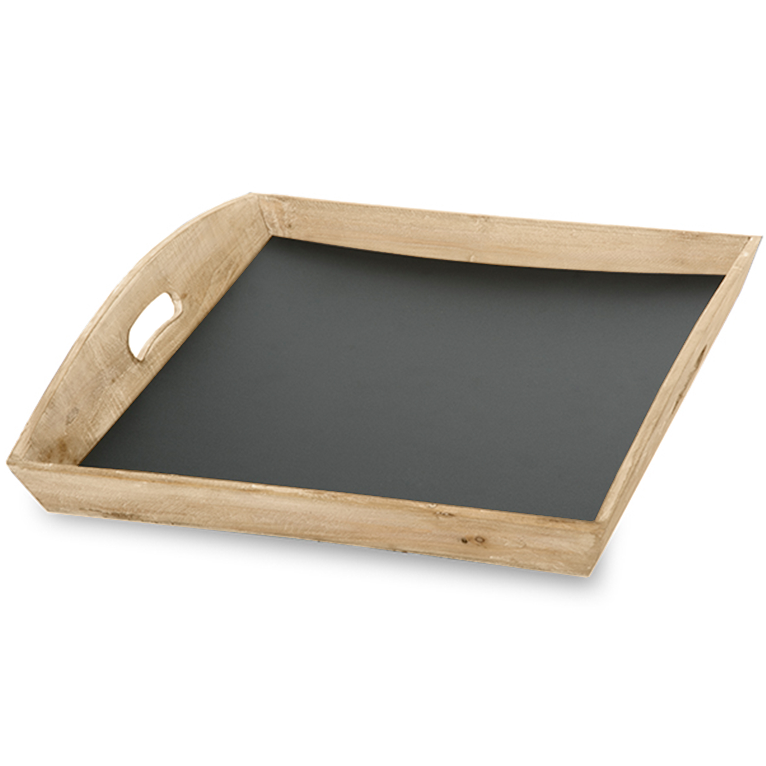 Medium Wooden Square Tray with Chalkboard Bottom 16in