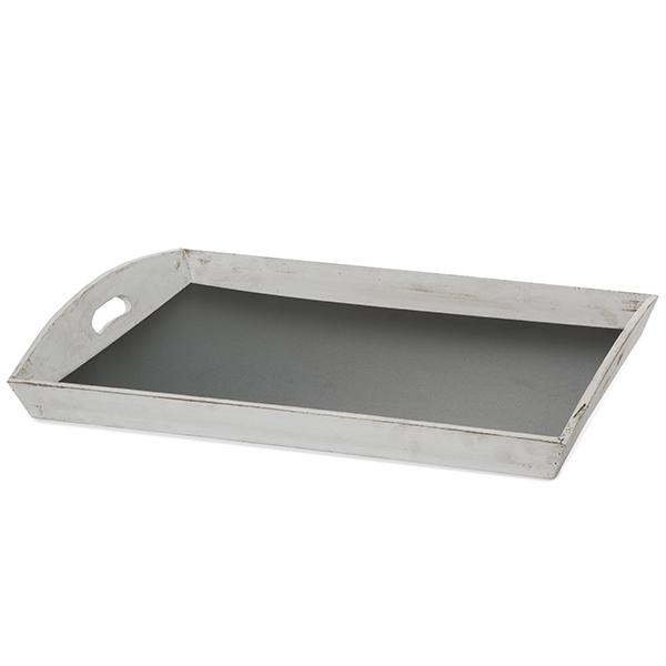 Large Rect Wood Tray with Chalkboard Base 22in