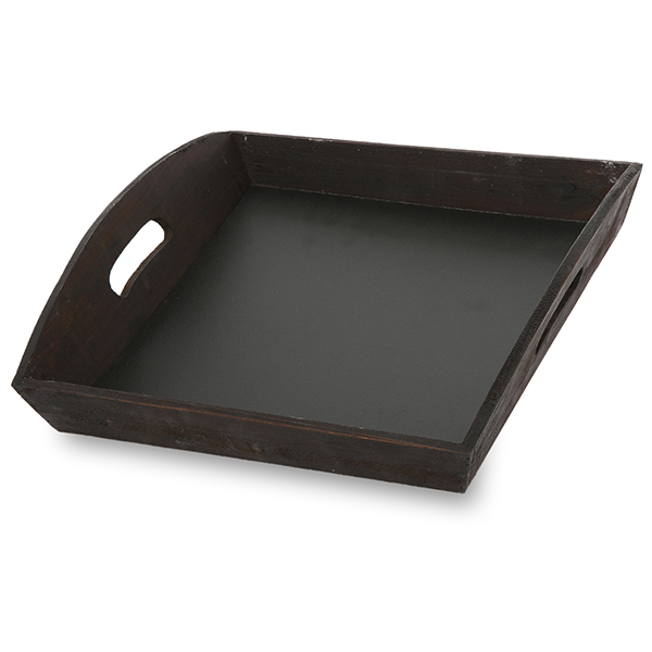 Small Square Wooden Tray with Chalkboard Bottom 12in
