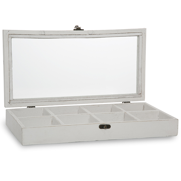 Rectangular Wood Display Case with Glass Lid 14in
