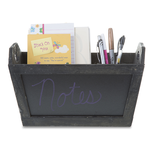 Rect Wooden Planter Basket with Chalkboard 12in