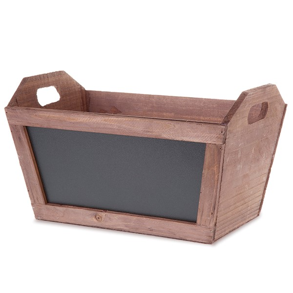 Rect Wooden Planter Basket with Chalkboard 14in
