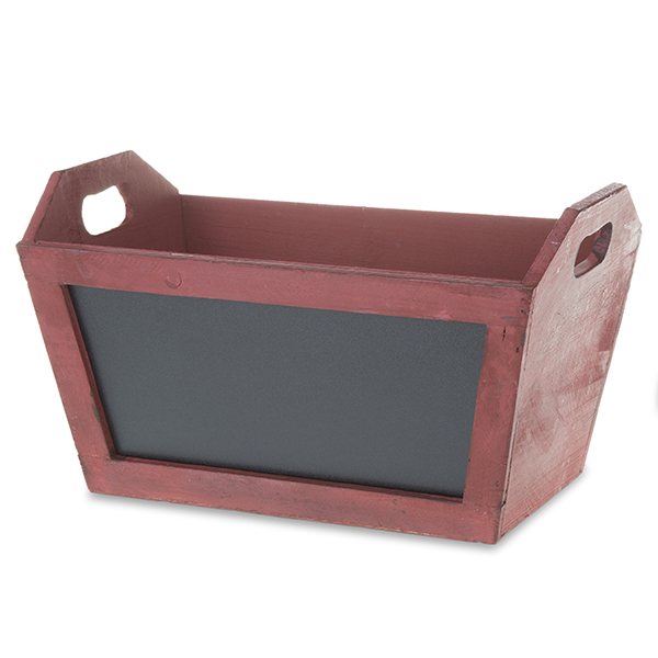 Rect Wooden Planter Basket with Chalkboard 11in