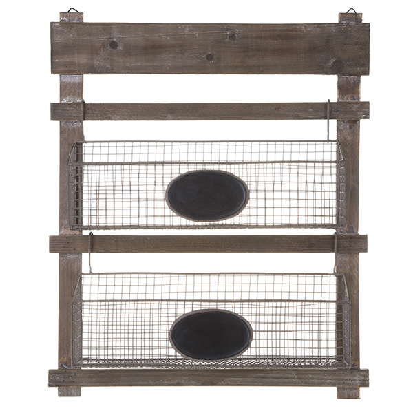 Two Tiered Wooden Hanging Shelf with Wire Planter Baskets