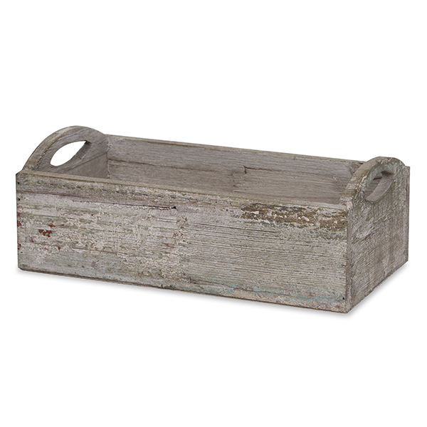 Rustic Rect Wooden Planter Basket with Cutout Handles -10in