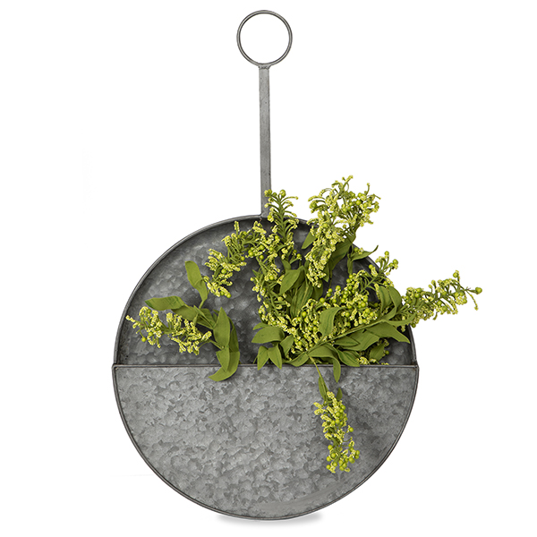 Jillian Galvanized Metal Hanging Basket - Large 15in
