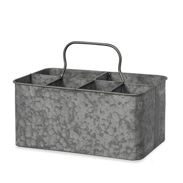 Jillian Rectangular Galvanized Metal Caddy 10in