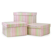 Square Gift Box with Lid Set of Three - Spring