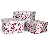 Square Gift Box with Lid Set of Three - Designer II