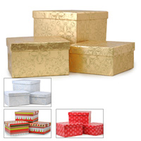 Square Gift Box with Lid Set of Three - Holiday
