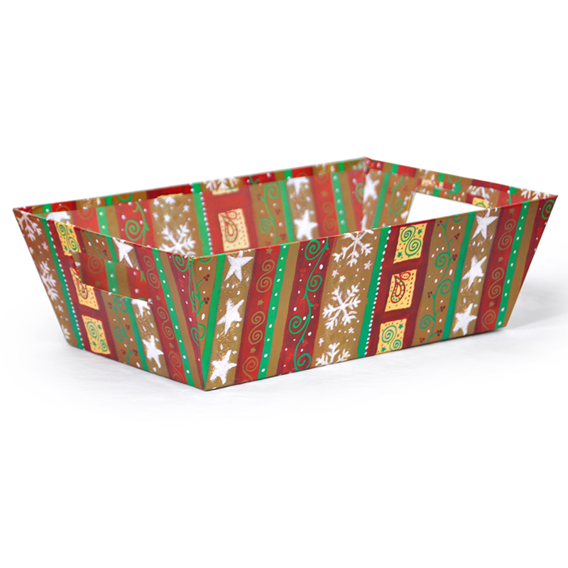 Gift Tray Large - Holiday II 14in - Scrolls, Stars & Flakes