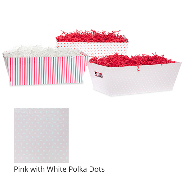 Gift Tray Medium - Valentine 12in- Pink with White Polka Dots