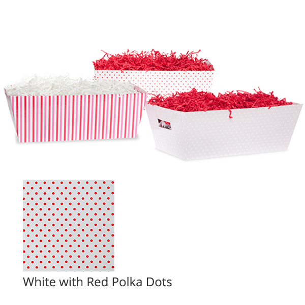 Gift Tray Medium - Valentine 12in- White with Red Polka Dots